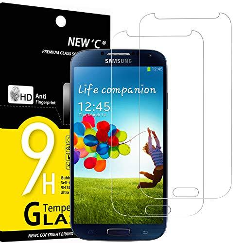 NEW'C 2 Unidades, Protector de Pantalla para Samsung Galaxy S4, Antiarañazos, Antihuellas, Sin Burbujas, Dureza 9H, 0.33 mm Ultra Transparente, Vidrio Templado Ultra Resistente
