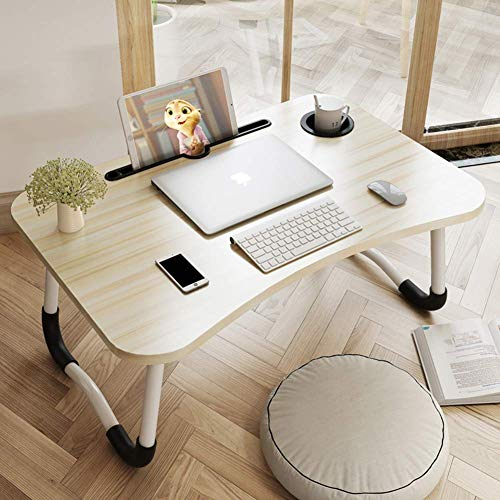 XIAO WEI Adjustable Laptop Bed Table Portable Lap Desk Bed Tray with Foldable Legs Cup Slot Tablet Groove White Maple 70x48x28cm