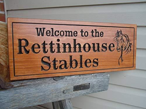Evan332Eddie Pferde-Stallschild, personalisierbar, personalisierbar, für draußen, bedrucktes Schild mit Pferdemotiv