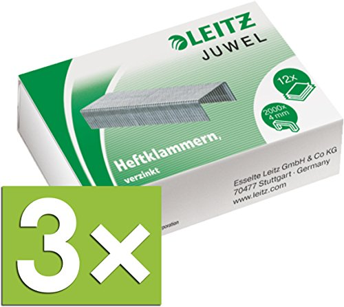 Leitz Heftklammern Juwel, verzinkt 6000 Stück (3 Packungen / 4 mm)