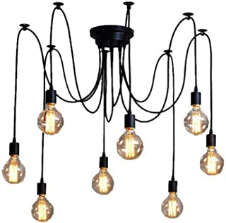 XIUDI 8 Arms Metal Pendant Lights,Industrial Ceiling Spider Lamp Fixture,Home DIY E26 Edison Bulb Chandelier Lighting,Coffee Shop Dining Living Room Retro Chic Drop-Light (78.7in Wire)