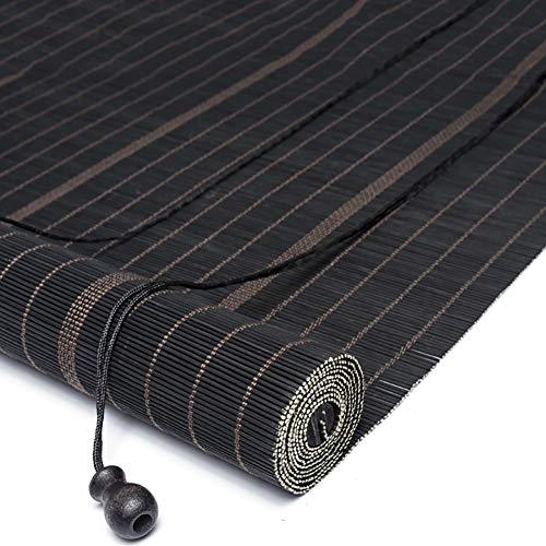 R&F - Persianas enrollables de madera para pérgola o exterior, porche, bambú, con ganchos, fácil de instalar, tamaño W 90cm× H 170cm