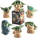 DealmerryUS Baby Yoda Toy, 6 Piezas/Set Baby Yoda Series Figura de acción de Juguete 5-8cm Mini Yoda Baby Toy para Regalo de niños