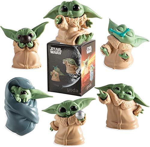 Baby Yoda Toy, 6pcs / set Pvc Mini Yoda Mandalorian Collection Figura de acción Star Wars Navidad Regalo para niños Muñeca en miniatura linda Antióxido Modelo impermeable Decoración de escritorio