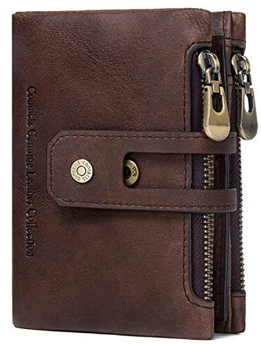 Herren Ledergeldbörse aus echtem Leder RFID Schutz Hochformat Portemonnaie mit Geschenkbox - Braun