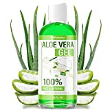 Aloe Vera Gel - 100% Aloe Vera Gel for Moisturizing Skin, Face and Body After Sun Care - Soothing Aloe Lotion for Sunburn, and Acne, Naturally Grown in the USA - Non Sticky - 16 oz