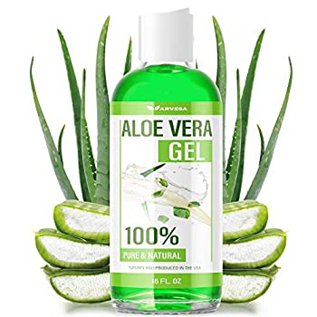 Aloe Vera Gel - 100% Aloe Vera Gel for Moisturizing Skin Face and Body After Sun Care - Soothing Aloe Lotion for Sunburn and Acne Naturally Grown in the USA - Non Sticky - 16 oz