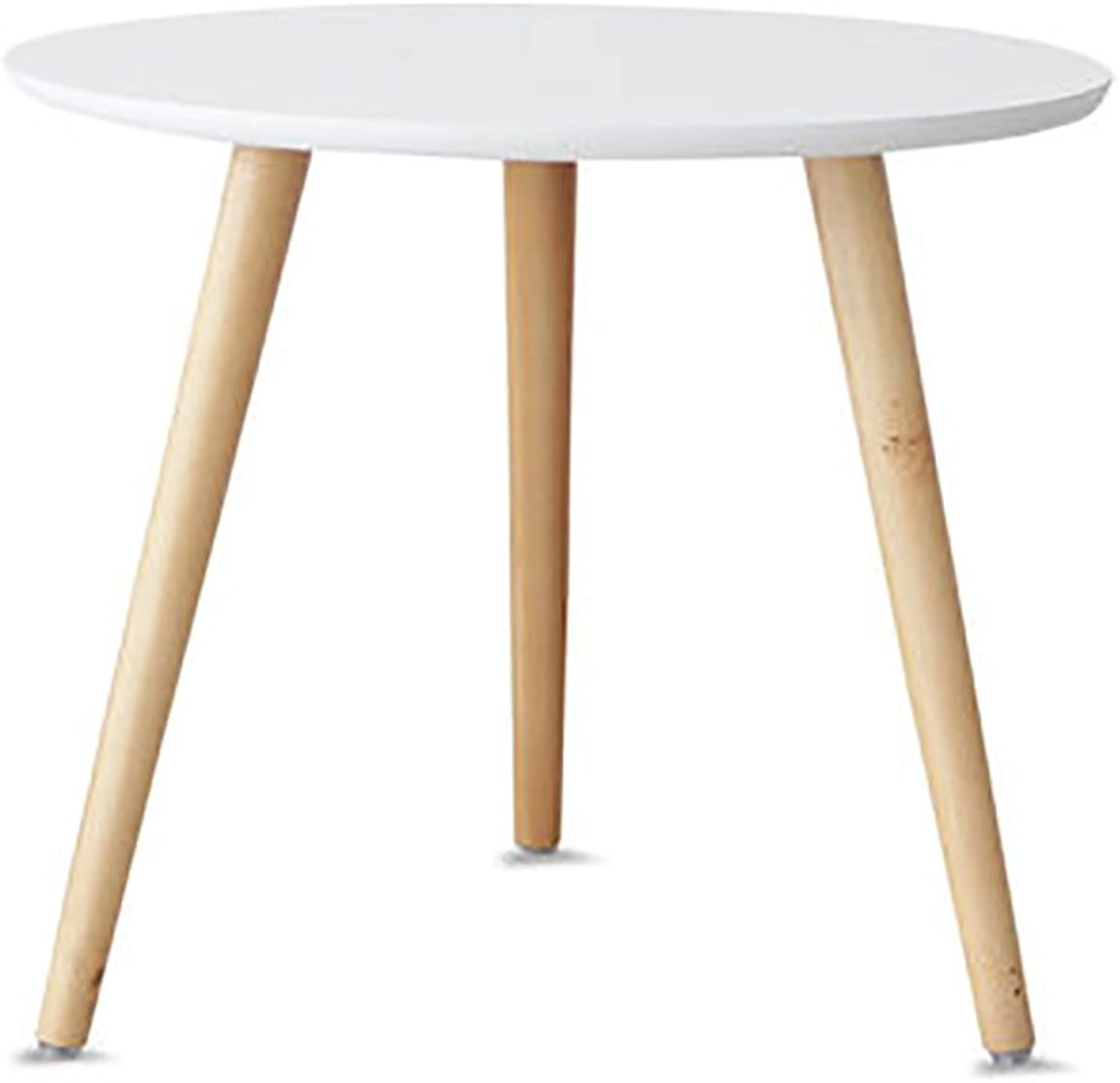 Wood Simple Round Side Table,Living Room Sofa Table Coffee Table Bedroom Night Table Telephone Table-White 50x50cm