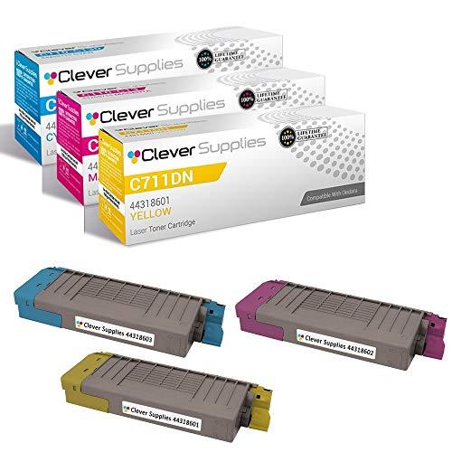 CS Compatible Toner Cartridge Replacement for Okidata C711 44318603 Cyan 44318601 Yellow 44318602 Magenta Okidata C711 C711dtn C711WT C711dn C711n C711WT Cyan Magenta Yellow 3 Color Set