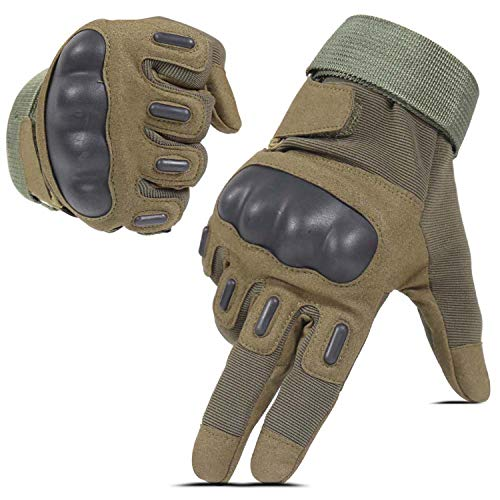 HIKEMAN Airsoft Gloves For Men and Women, Full Finger Touch Screen Hard Knuckle Gloves For Hunting,...