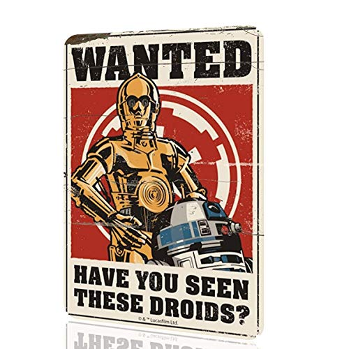 AWMAXG Wanddekoration Wandschild Star Wars Wanted Have You Seen There Droids Poster Wall Art Decor Home Rusted 20,3 x 30,5 cm