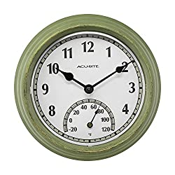 AcuRite 02470 Rustic Green Outdoor Clock with Thermometer, 8.5
