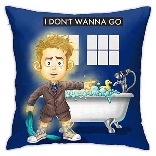 HONGYANW Doctor Who I Dont Wanna Go Funda de almohada, impresión de doble cara, funda de almohada con cremallera oculta, hermosa funda de almohada de 45,7 x 45,7 cm