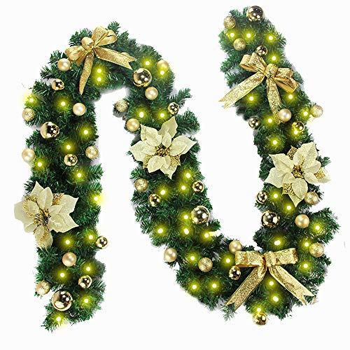 Morbuy Christmas Garland Decorations, 2.7M Fireplaces Stairs Decorated Garlands 8 Mode Wreath LED Lights Illuminated Baubles Flower Ball Xmas Tree Festive Décor (Gold)