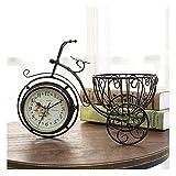 LITINGT Reloj de sobremesa Reloj de Mesa Decorativo pequeño Hogar Hierro Arte Reloj de Mesa de Bicicleta de Tres Ruedas Sala de Estar de jardín Reloj de Mesa silencioso de Doble Cara Adornos de rega