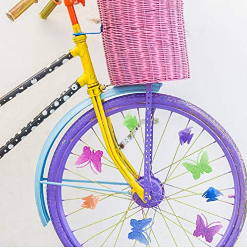 BAPHILE Bike Accessories for Kids Girls Bike Bicycle Decorations Including Pink Bike Handlebar Grips, Bike Streamers, Butterfly Bike Wheel Spokes, Flower Bell and Stickers,Rabbit Balloon