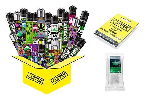 10 x Hanfmotive (Weed) Collector Mix Clipper (10 x Feuerzeug Plus 9 gratis Clipper Feuersteine + gratis Hanftee)