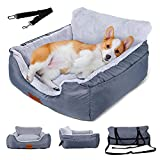 Topmart Dog Car Seat for Small Dogs&Cats,Dog Bed for Car,Pet Booster Seat with Seat Belt,Travel Safety Dog Car Seat Washable,Up to 35 lbs,Grey