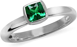 Silvershake 925-Sterling rhodium-plated-silver cushion green emerald