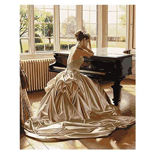 Holz gerahmt 40x50cm Malen nach Zahlen DIY berühmten Gemälde, Klavier Mädchen