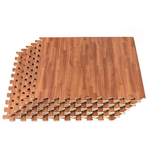 "Forest Floor Thick Printed Foam Tiles, Premium Wood Grain Interlocking Foam Floor Mats, Anti-Fatigue Flooring, 3/8"" Thick, 100 Square Feet (25 Tiles), Mahogany"
