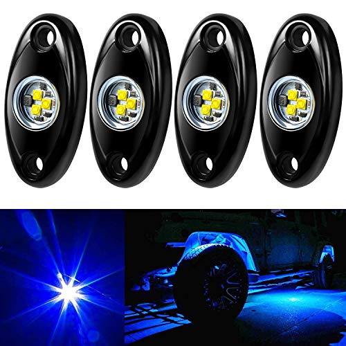 Amak 4 Pods LED Rock Light Kit for Jeep ATV SUV Offroad Car Truck Boat Underbody Glow Trail Rig Lamp Underglow LED Neon Lights Waterproof-Blue