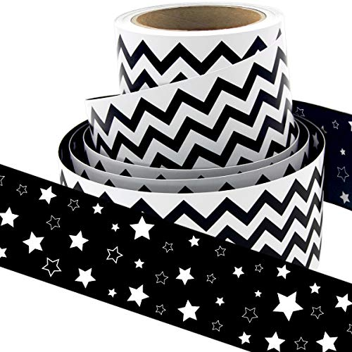 Black and White Chevron Bulletin Board Borders Double-Sided Star Straight Border Trim for Classroom Decoration Bulletin Board Whiteboard 36ft