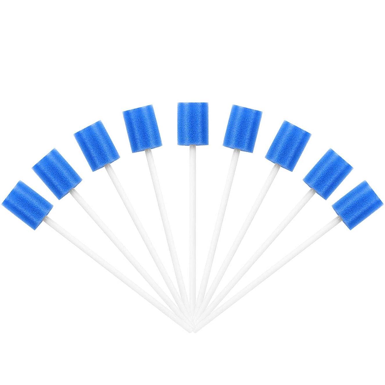 作動する世界的に悲観的SUPVOX 100PCS使い捨て可能なオーラルケアスポンジ綿棒歯のクリーニングスポンジ綿棒用口腔クリーニング(ブルー)