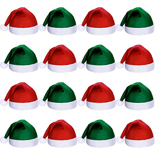 16 Pezzi Cappello di Babbo Natale in Tessuto Non Tessuto Natalizio Cappelli di Babbo Natale per Adulti (Verde Nerastro e Rosso)