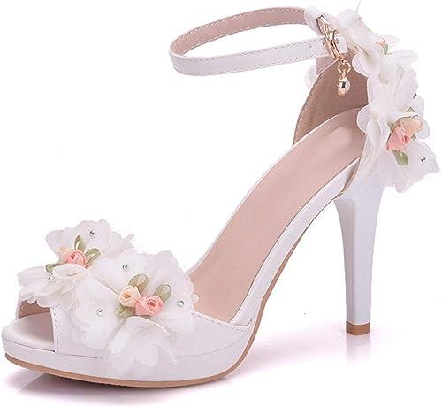 ZHRUI Flores netas para damenes Tacón Alto Satén Weiß Correa del Tobillo Sandalias de Boda Reino Unido 5 (Farbe   -, tamaño   -)