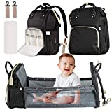 3 in 1 Diaper Bag Backpack with Bassinet,Vikano Portable Travel Crib Changing Station USB Port Foldable Bed Convertible Newborn Christmas Baby Shower Gifts Essentials Stuff for Girls Boys (Black)