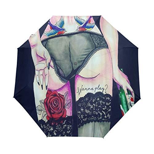 DUILLY Automatischer Regenschirm zum Öffnen/Schließen,Rebellische kühle Mädchen-Rückseite, die Schwarze Strümpfe mit Tatto auf dem Bein hält Bier trägt,zusammenklappbarer Kleiner Sonnenschirm