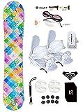 womens 140 snowboard package - 140-144cm Modern Santa Monica Womens Girls Snowboard +Bindings Package +Leash+Stomp+Sunglasses+ Roxy Decal (Bindings White S (fit 6-9), 140cm Santa Monica Pink Blu(AZ95))