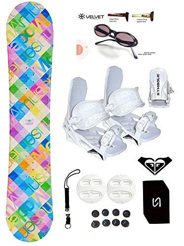 140-144cm Modern Santa Monica Womens Girls Snowboard +Bindings Package +Leash+Stomp+Sunglasses+ Roxy Decal (Bindings White S (fit 6-9), 140cm Santa Monica Pink Blu(AZ95))