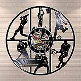 BFMBCHDJ Béisbol Baloncesto Fútbol Hockey Fútbol Tenis Juego de Pelota Disco de Vinilo Reloj de Pared Habitación para niños Deportes Arte de la Pared Reloj Colgante