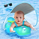 LAYCOL Baby Swimming Float with Sun Canopy Over UPF50+ , Baby Floats for Pool Add Tail Never Flip Over (Blue, L)
