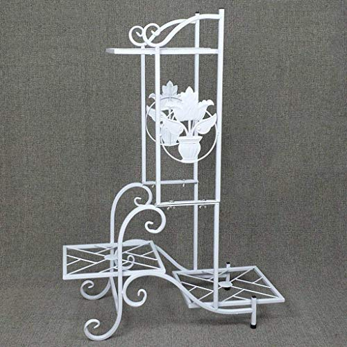 Présentoir de plantes, support de plancher européen simple, balcon intérieur à plusieurs niveaux, support pour pot de fleurs en fer forgé (57 * 79cm) (Couleur : Blanc)