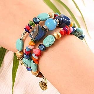 Bohend Boho Couches Turquoise Bracelets Perles Élastique Chaîne de main Bohême Bois Cristal Bracelet Bijoux Pour Femmes Et...