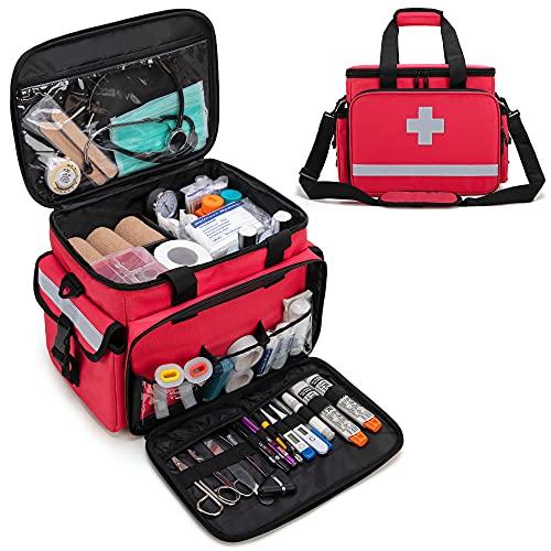 CURMIO Bolsa de Primeros Auxilios, Botiquín de Primeros Auxilios, Bolsa para Emergencias con Bandolera y 2 Divisores Desmontables y 2 Detachable Dividers, Bolsa Médico,Rojo, Sola Bolsa