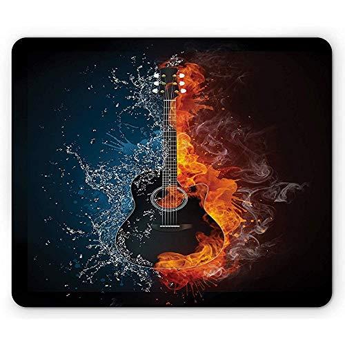 Gitarren-Mausunterlage,Kühles Leidenschaftliches Design Eines Einzelteils Veranschaulicht In Den Wasser-Und Orangen-Feuer-Effekten,Rutschfestes Gummi-Mousepad des Rechtecks