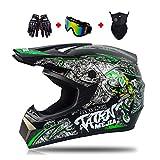 LEENY Casco de Motocross Verde Casco de Cross Set con Gafas Guantes Máscara, Casco Integral Moto Off-Road Enduro Downhill Casco ATV MTB BMX Quad Cascos de Motocicleta para Hombres Mujeres,L
