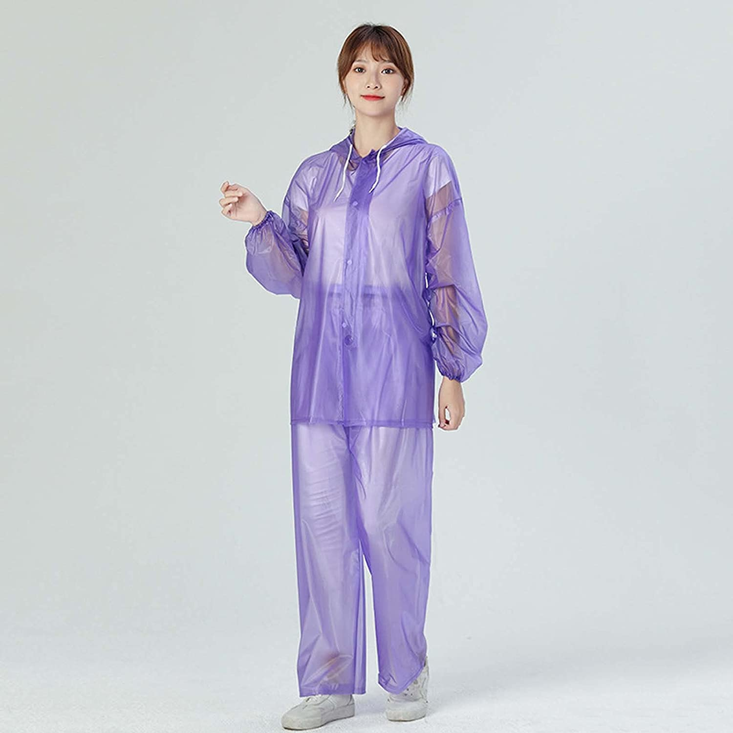 FHGH Transparent Split Raincoat, PVC Sea Glue Adult Hooded Rainsuit, for Outdoor Cycling, Camping, Hiking, Etc,A,Medium