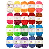 20 Acrylic Yarn Skeins - 438 Yards Multicolored Yarn in Total – Great Crochet and Knitting Starter Kit for Colorful Craft – Assorted Colors