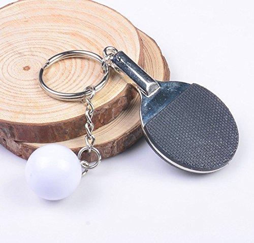 Tischtennis mit Ball Tischtennisschläger in schwarz und Ball Schlüsselanhänger Ping Pong Metall | Geschenk | Männer | Sport | schwarz