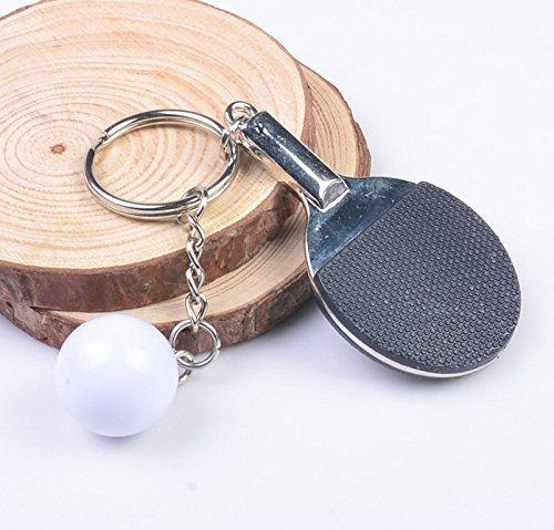 Ping pong de mesa con pelota de ping pong en negro y llavero de metal | regalo | hombres | deporte | negro