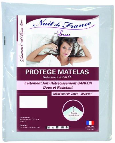 Nuit de France 329381 70/190 Protège Matelas Coton Blanc 190 x 70 x 1 cm