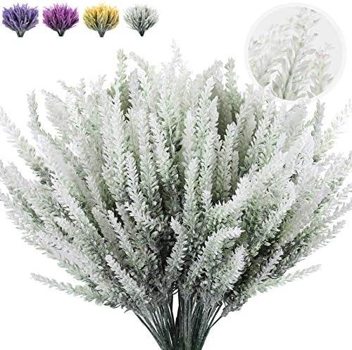8 Bunches Artificial Lavender Flowers Flocked Plastic Lavender Bundle Fake Plants Wedding Bridle product image