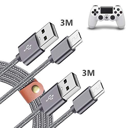 PS4 コントローラー 充電 ケーブル 3M+3M 2本,Sony PS4 Pro/Slim Dualshock 4/DS4,XBOX ONE S/X Controller 対応 Micro usb/マイクロ usbケーブル ゲーム機 充電器 コード 延長ケーブル 長い charger,高耐久 急速充電 ソニー Playstation4 プレステ4 プレステーション4 ナイロン編み