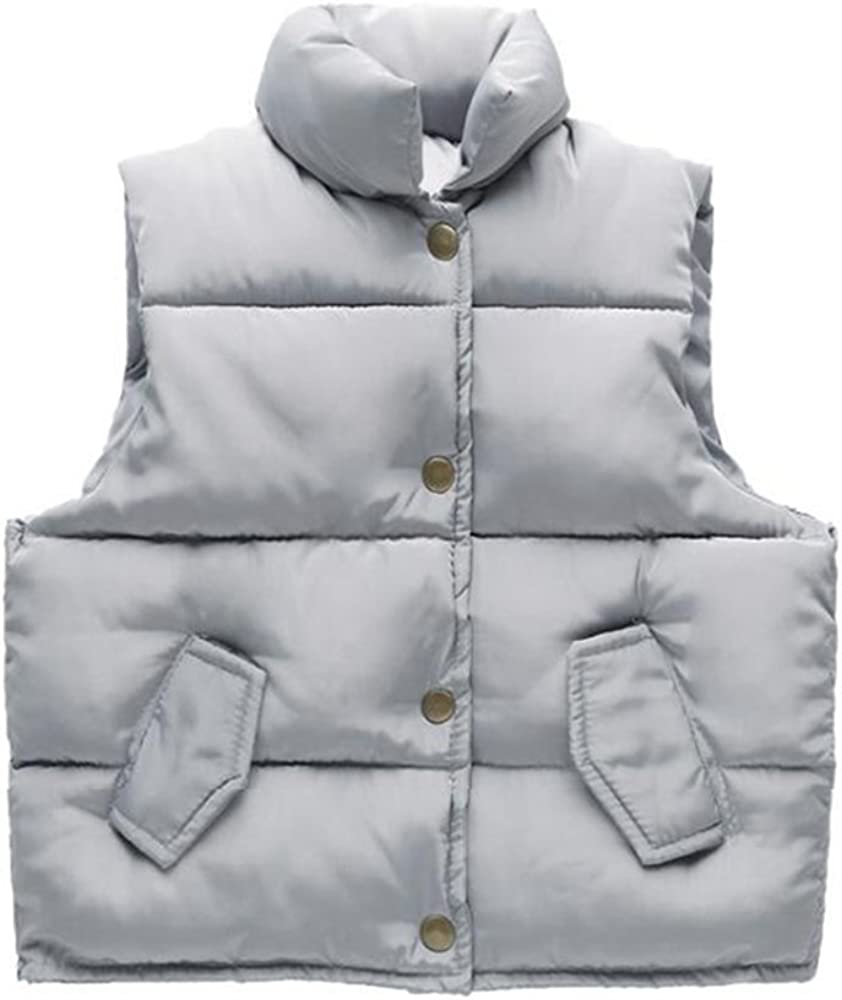 Manyfurs Winter and Autumn Children Bread Down Cotton Vest Boys and Girl Outwear