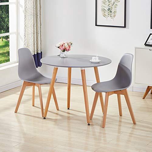 GOLDFAN Esstisch mit 2 Stühlen Rund Esstisch aus Holz Matt Küchentisch Esszimmerstuhl aus Holz Küchenstuhl für Wohnzimmer Esszimmer Küche, Grau& Grau